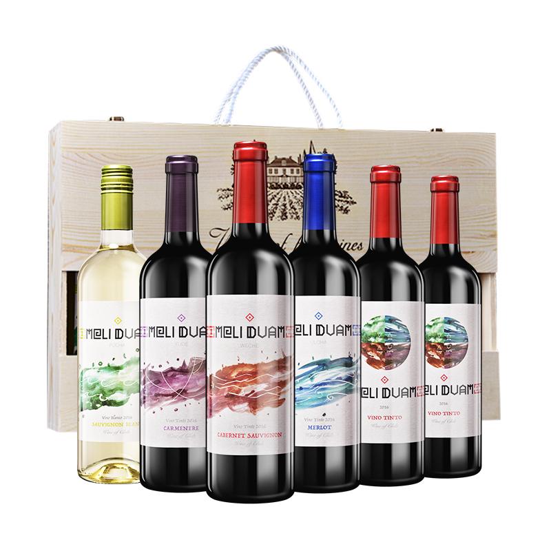 【礼盒】智利魅利缤纷葡萄酒6支木礼盒套装