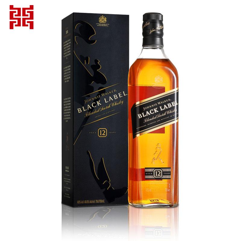 进口洋酒Johnnie Walker尊尼获加黑牌黑方威士忌700ML