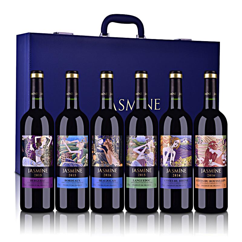 法国整箱装茉莉花6大产区AOP干红葡萄酒礼盒套装750ml*6(升级装限量版)