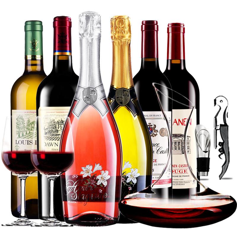 奈宁城堡领衔6支起泡酒红酒干白葡萄酒组合醒酒器装750mlx6