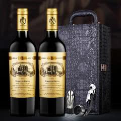 醉梦红酒 法国原瓶进口AOP级红酒奥德男爵干红葡萄酒双支皮盒