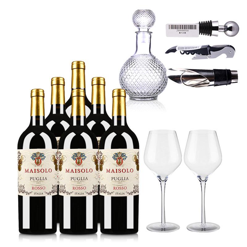 意大利圣霞多·麦索罗干红葡萄酒750ml (普利亚地理标志保护葡萄酒)*6瓶+精美酒具6件套