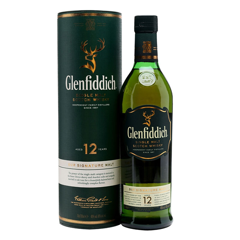 40°英国格兰菲迪(Glenfiddich)12年单一纯麦威士忌进口洋酒烈酒700ml