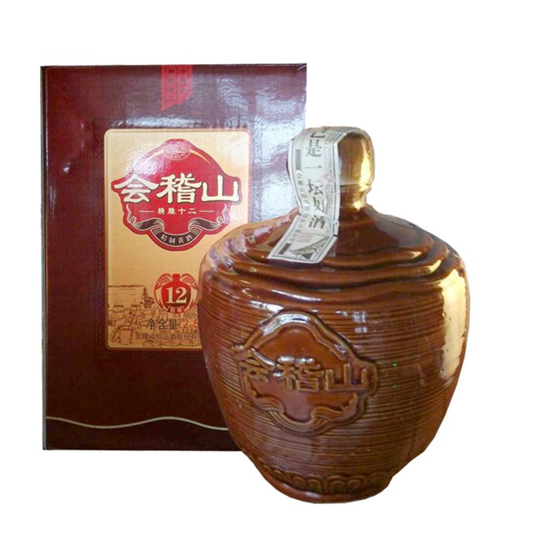 绍兴黄酒会稽山精雕十二年陈黄酒陶坛装半甜型黄酒2.5kg
