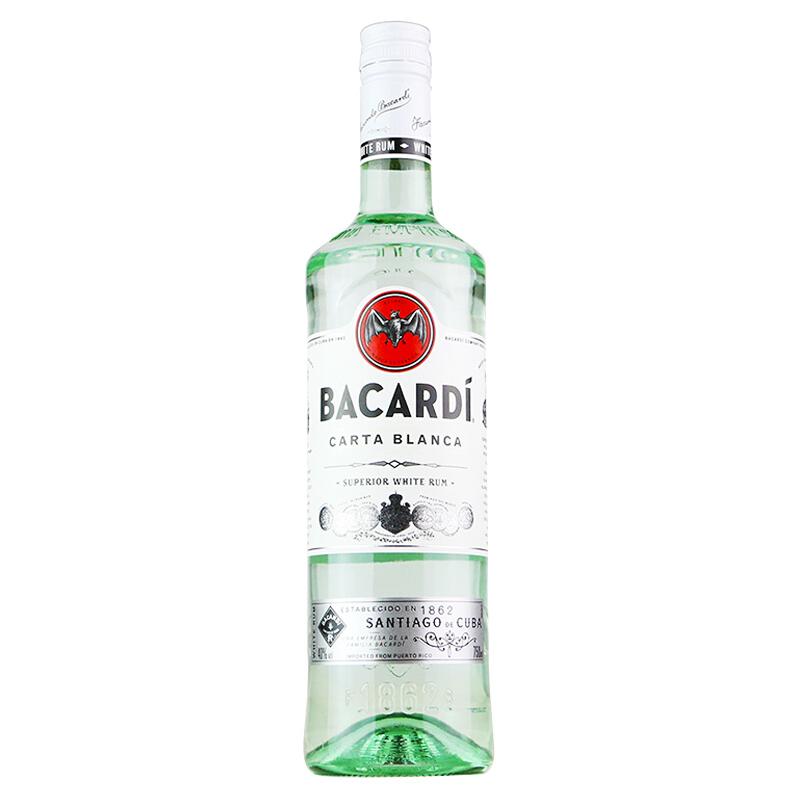 40°波多黎各百加得(Bacardi)白朗姆酒 烘培鸡尾酒烈酒基酒进口洋酒750ml