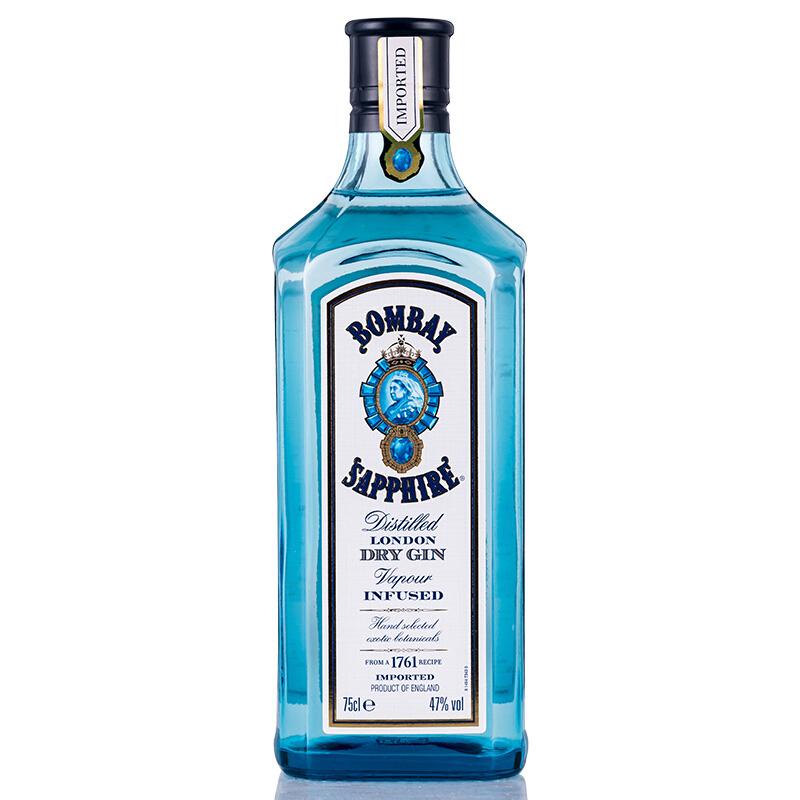 47°英国孟买(Bombay Sapphire)蓝宝石金酒进口洋酒 琴酒杜松子酒750ml