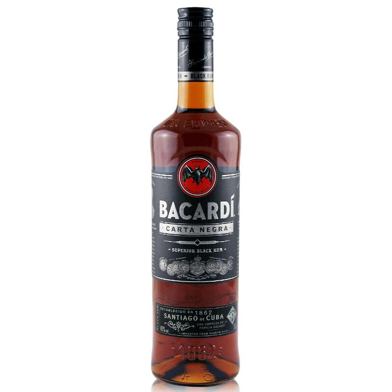40°波多黎各百加得(BACARDI RUM)黑朗姆酒进口洋酒750ml
