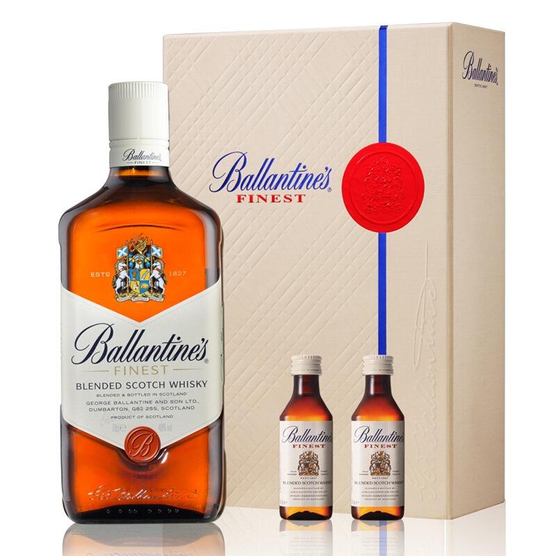 【双酒礼盒】40°英国百龄坛(Ballantine′s)特醇苏格兰威士忌进口洋酒700ml