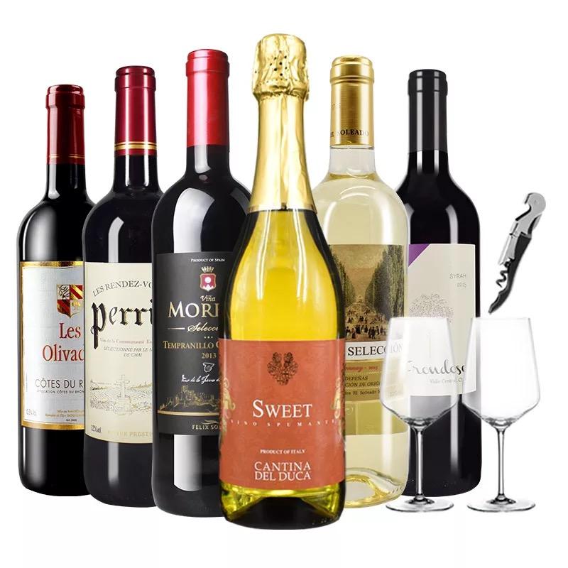 进口红酒整箱组合法国AOC干红葡萄酒西班牙DO干白意大利起泡酒