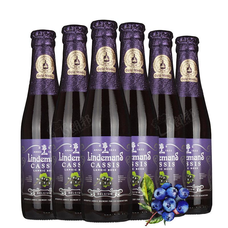 比利时进口啤酒Lindemans林德曼蓝莓水果味啤酒250ml(6瓶装)