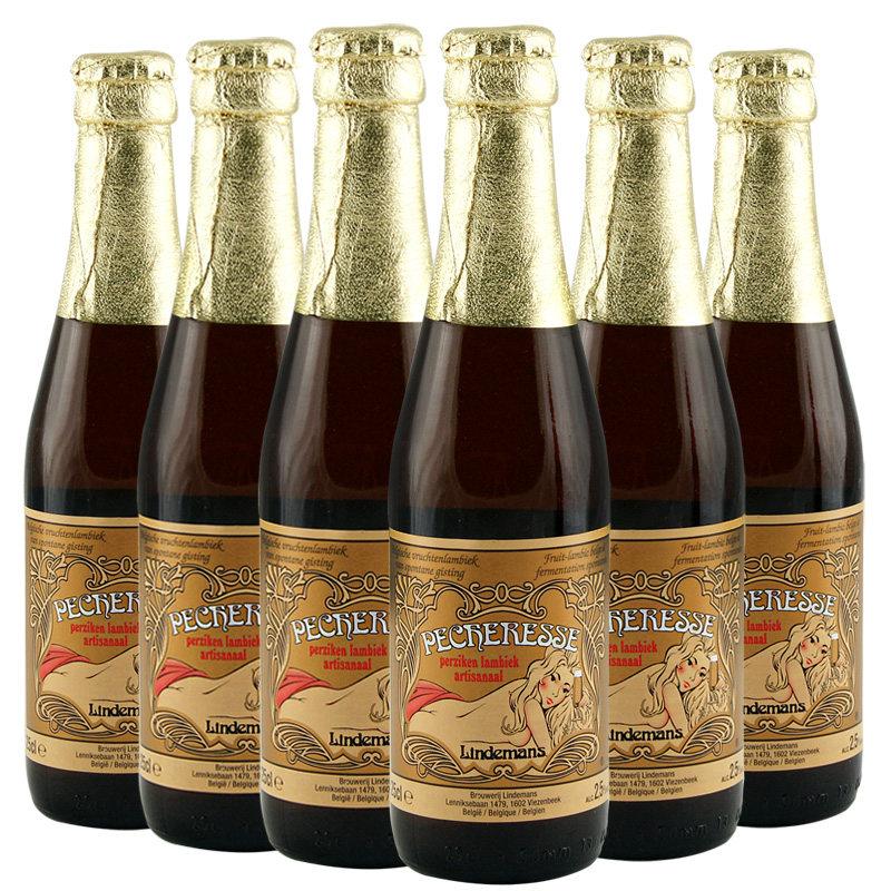 比利时进口啤酒Lindemans林德曼桃子味啤酒250ml(6瓶装)