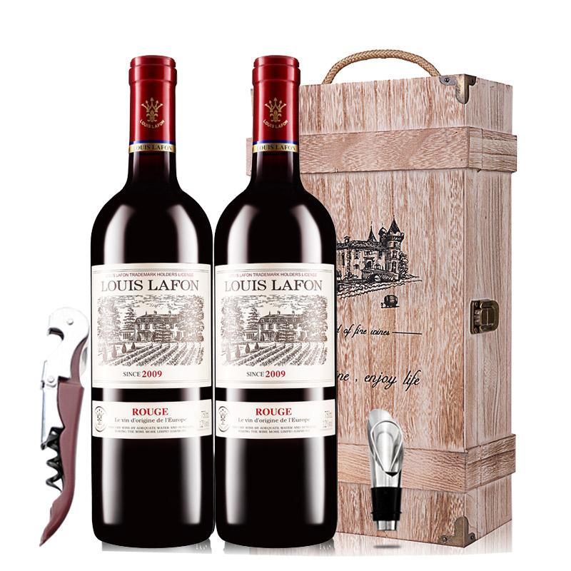 【春节不打烊】路易拉菲2009男爵古堡干红葡萄酒红酒礼盒木盒装 750ml*2