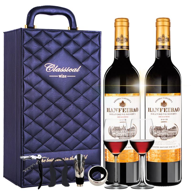 法国原酒进口半干红酒 汉斐堡甜红葡萄酒 750ml*2  双支特惠礼盒装