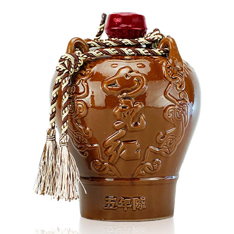 15°+ 正宗绍兴黄酒 女儿红五年陈酿陶坛装花雕酒 1.5L