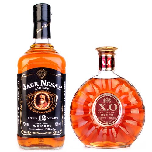 【国产洋酒组合】 杰克尼斯威士忌700ML+X.O金奖白兰地500ML两瓶组合套餐  裸瓶