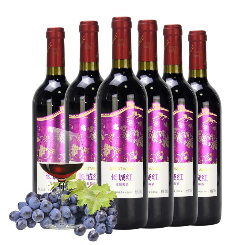中粮长城红干红葡萄酒国产甜型红酒整箱750ml*6瓶装促销正品包邮