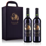 法国(原装原瓶进口)皇家金狮干红葡萄酒750ml(双支皮盒套装)
