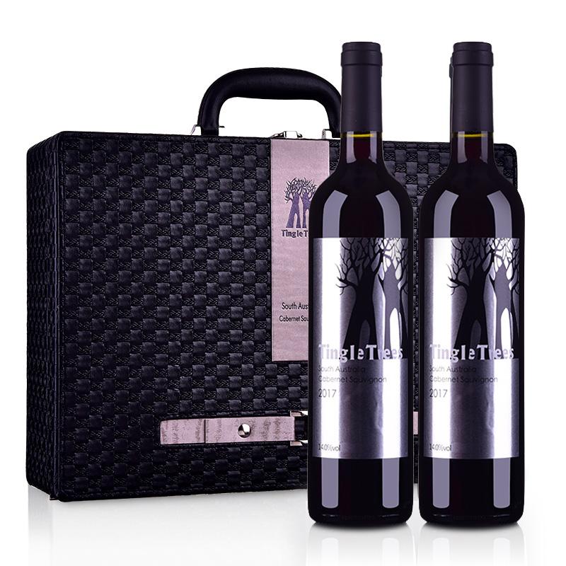 丁戈树赤霞珠干红葡萄酒双支皮盒套装