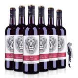 【酒仙甄选】法国雄狮 吼干红葡萄酒750ml(六支装)+嘉年华黑珍珠海马酒刀