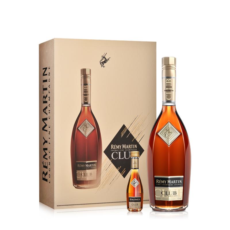 40°人头马RemyMartin CLUB700ml+30ml优质香槟区干邑白兰地新年礼盒
