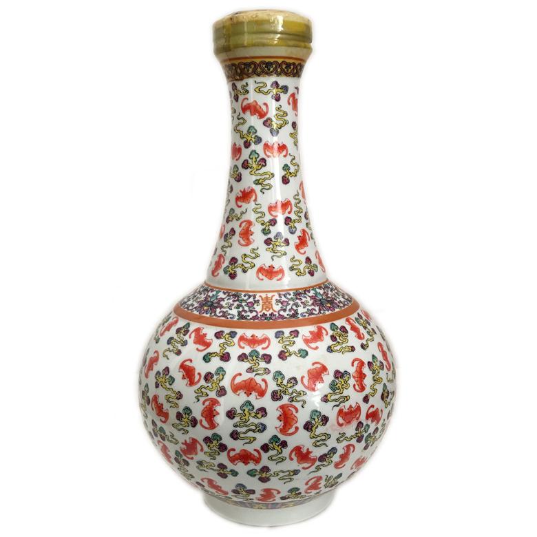 41度 台湾仿清宣统粉彩云蝠瓶 白兰地酒 1L 1994年 陈年老酒(部分有盒)