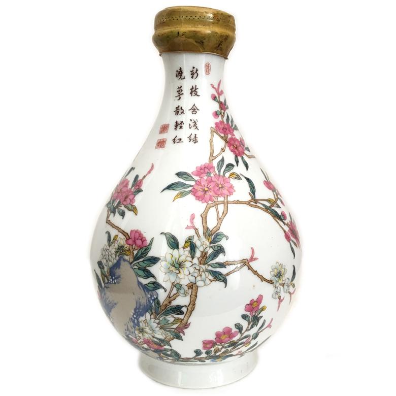 台湾青花花卉葫芦瓶 百岁酒 750ml 1984年 陈年老酒(无盒)