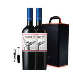 智利进口蒙特斯经典梅洛干红葡萄酒750ml*2 +双支装皮盒