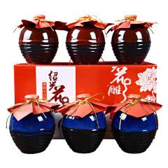 绍兴黄酒15度半甜型手工糯米花雕酒整箱礼盒装 500ml*6瓶