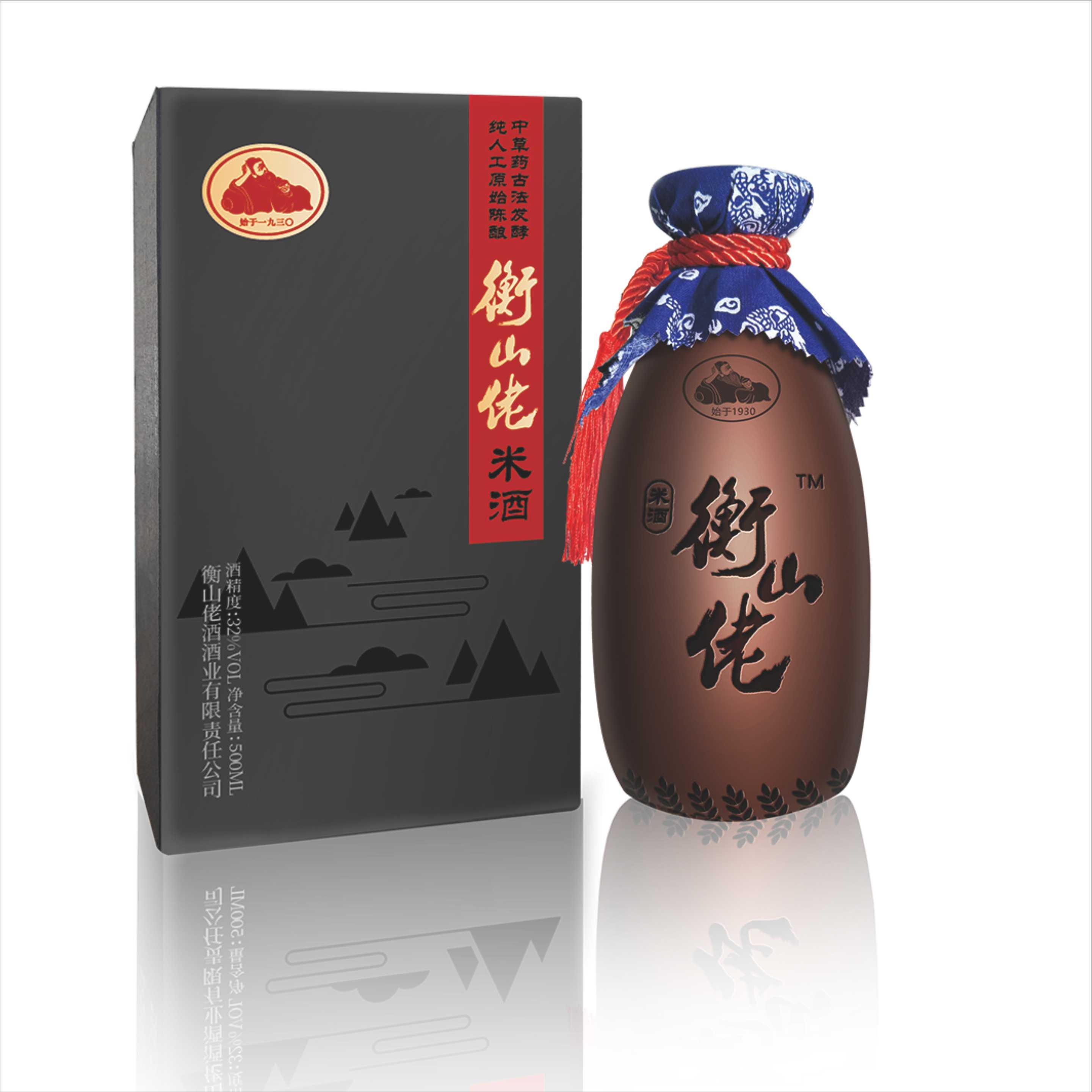 32° 衡山佬礼盒装 米香型白酒 500ml*1 单瓶装