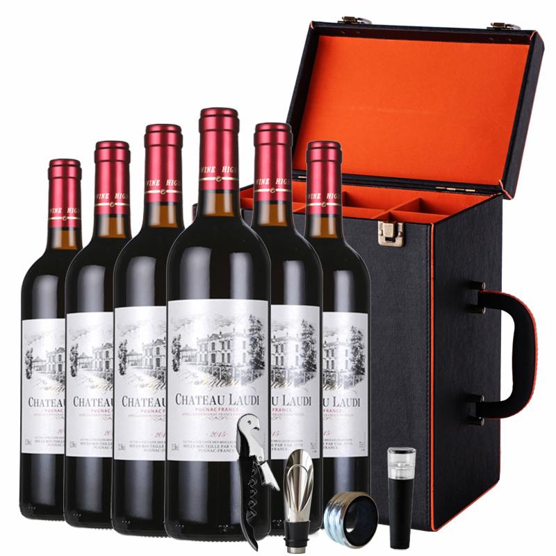 法国AOC原瓶进口红酒罗蒂纳菲尔干红葡萄酒整箱6瓶6支皮箱礼盒装  750ml*6