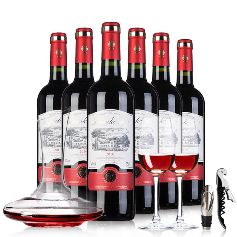 法国原瓶原装进口AOP红酒醉慕西拉干红葡萄酒6瓶整箱送酒具 750ml*6
