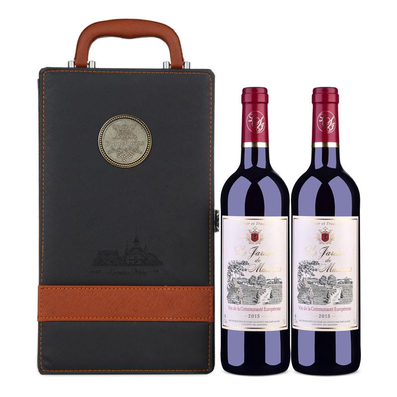 【礼品礼盒装】法国原瓶进口红酒莫奈庄园干红葡萄酒750ml*2(双支皮盒装)