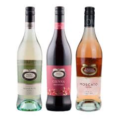 澳大利亚原瓶进口布朗兄弟酒庄莫斯卡托甜白桃红甜红葡萄酒三支装