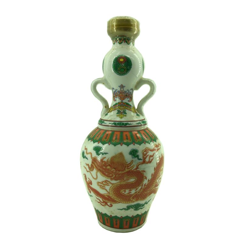 1991年 春节纪念酒款 龙纹双耳瓶 台湾陈年老酒  金门高粱(无盒)