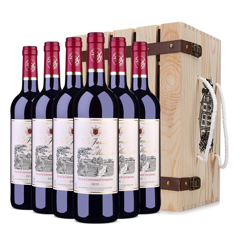 法国原瓶进口红酒 莫奈庄园干红葡萄酒750ml *6 整箱木盒装