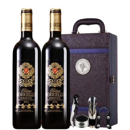 法国原瓶进口博列诺AOC级干红葡萄酒红酒凤尾礼盒装750ml*2