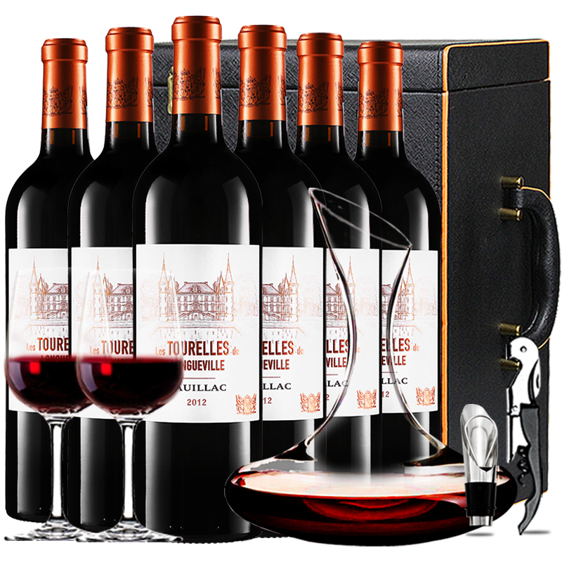 (列级庄·名庄·副牌)碧尚男爵庄园男爵古堡副牌2012干红葡萄酒红酒礼盒装750ml*6