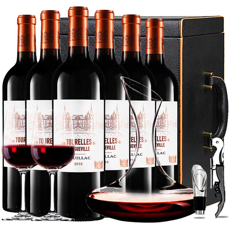 (列级庄·名庄·副牌)碧尚男爵庄园男爵古堡副牌2010干红葡萄酒红酒礼盒装750ml*6