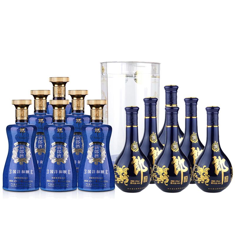 53°郎酒·青花郎二十(20)500ml(6瓶装)+45°新郎酒(国沣和顺)500ml(2015年)(6瓶装)