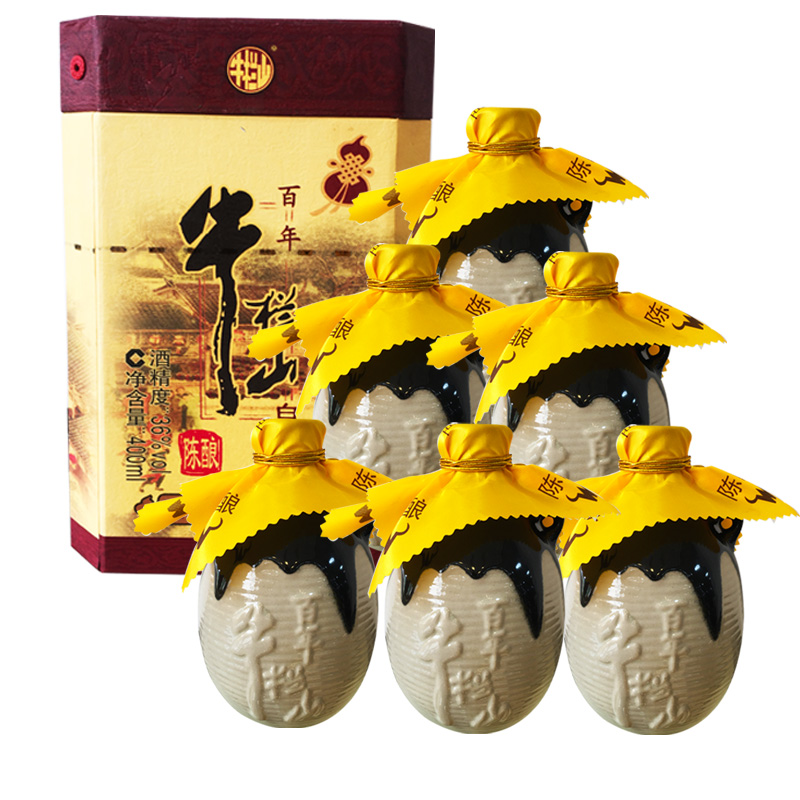 36°牛栏山(niulanshan)白酒百年陈酿三牛 浓香型礼盒白酒400ml(整箱装)
