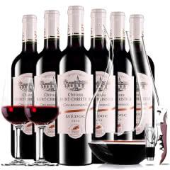 【中级庄】法国原瓶进口红酒圣克里斯图酒庄2013干红葡萄酒红酒整箱醒酒器装750ml*6