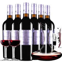 法国进口红酒卡斯特贝桐特选干红葡萄酒红酒整箱醒酒器装750ml*6