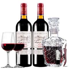 拉斐庄园2009珍酿进口红酒珍藏干红葡萄酒 双支红酒欧式醒酒器装750ml*2