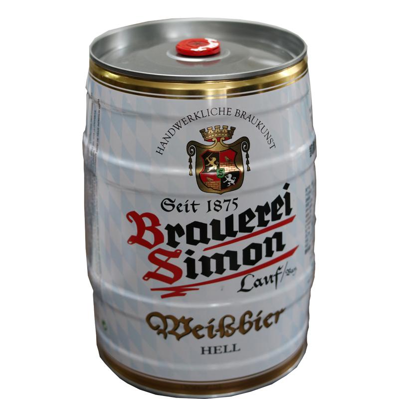 德国啤酒5.1°凯撒西蒙小麦白啤酒桶装5L