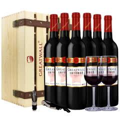 红酒整箱长城星级解百纳干红葡萄酒750ml*6瓶木箱送酒杯酒具中粮沙城