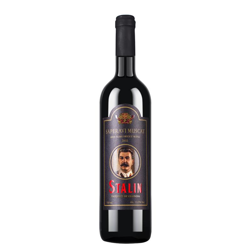 格鲁吉亚原瓶进口斯大林姆次卡特半甜红葡萄酒750ml