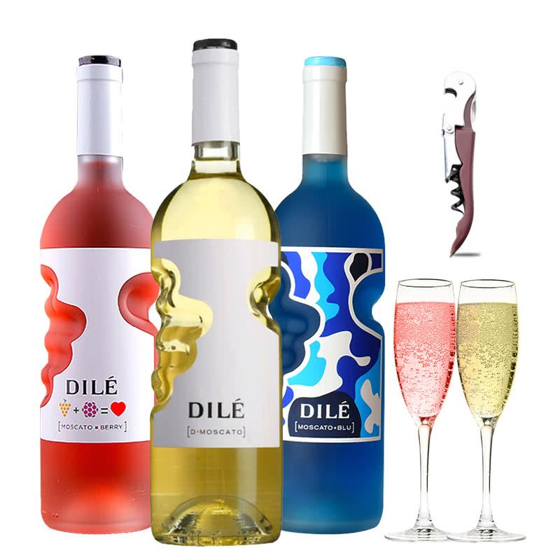 意大利天使之手甜白/桃红/蓝色葡萄酒莫斯卡托甜酒起泡酒配制酒组合装 750ml*3
