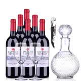 澳大利亚奔富洛神山庄设拉子赤霞珠红葡萄酒750ml(6瓶装)+酒具套装