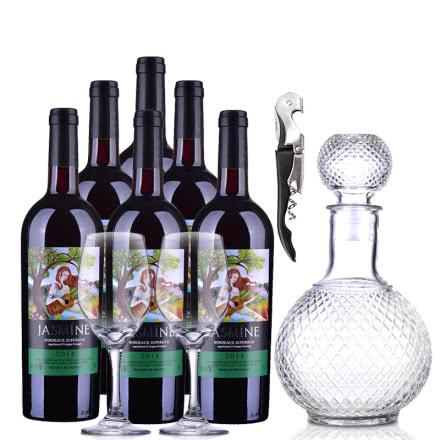 法国整箱红酒茉莉花超级波尔多干红葡萄酒750ml(6瓶装)+红酒酒具套装