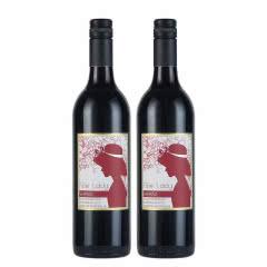 澳洲红酒澳大利亚FineLady赫本黛拉精选西拉子红葡萄酒750ml(2支装)